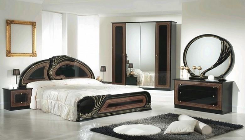 Chambre à coucher SOPHIA (Noir- OR)